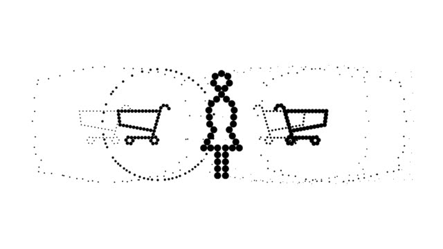shopping carts - woman, pure black dots (loop) - 大組物體 個影片檔及 b 捲影像