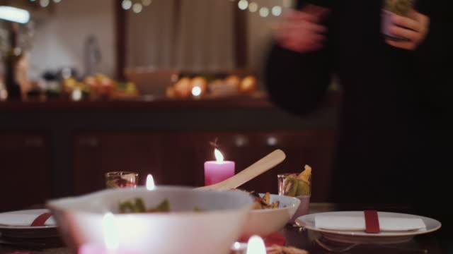 woman putting desserts on festive table - yoghurt stock videos & royalty-free footage