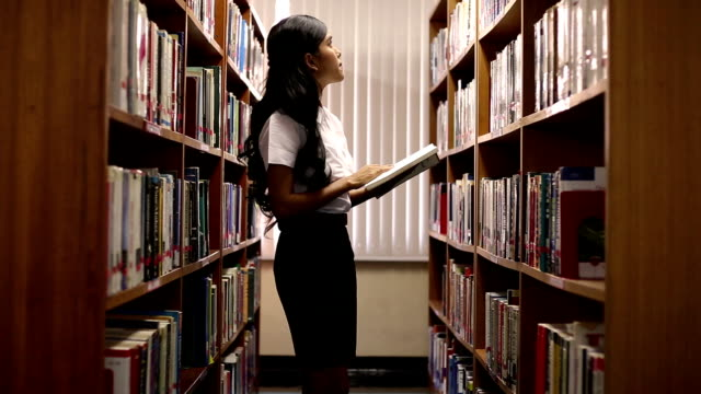 woman read a book in library - library stock videos and b-roll footage