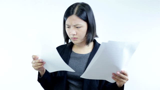 Woman read paper and shock on white back ground