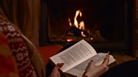 ds woman reading a book by the fireplace - cozy stock videos & royalty-free footage