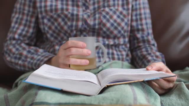 donna che legge un libro. - letteratura video stock e b–roll