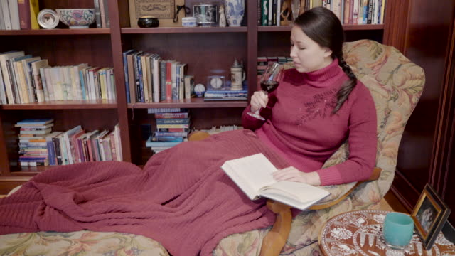 woman reading and drinking wine in den - comfortable stock videos & royalty-free footage