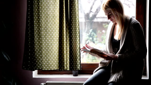 woman reading book near the window - pullover stock videos & royalty-free footage