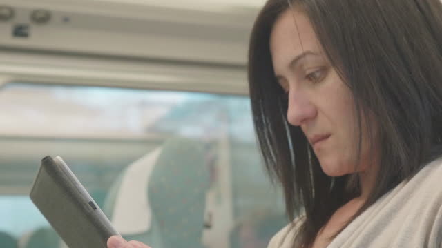 Woman reading in an e-book in a train while travelling