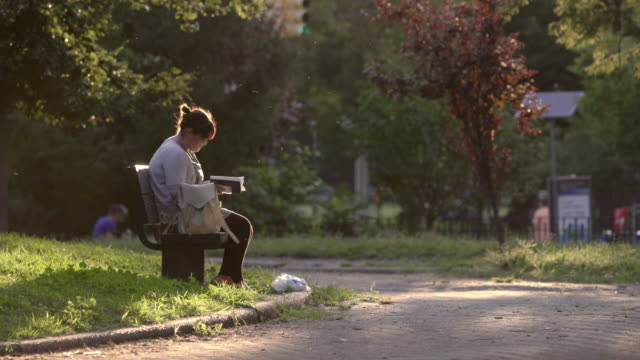 vidéos et rushes de woman reads book in a brooklyn public park during sunset. - banc public