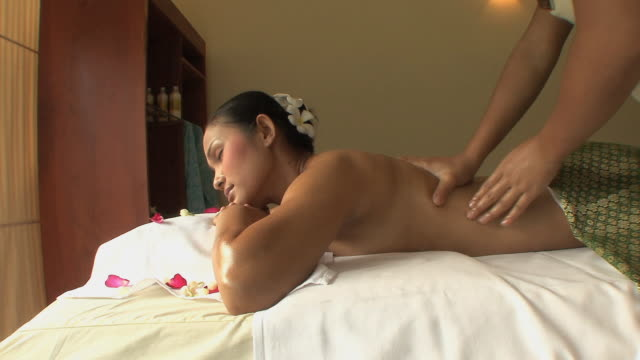 MS Woman receiving back massage, Sihanouksville, Cambodia