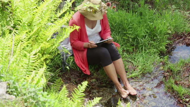 woman relaxes by stream while using digital tablet - barefoot stock videos & royalty-free footage