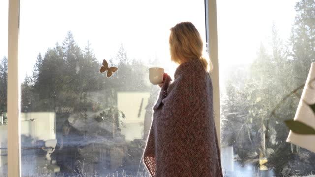 woman relaxes in living room, wearing blanket - blonde hair stock videos & royalty-free footage
