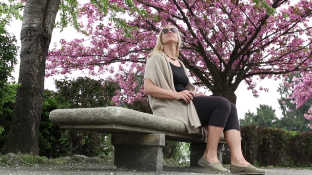 woman relaxes on bench below blossoming tree, sends text - piedmont italy stock videos & royalty-free footage