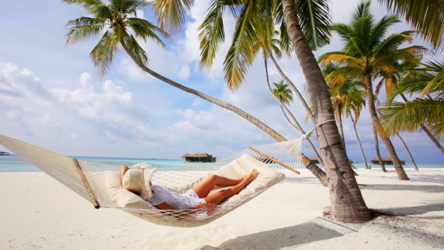 woman relaxing in beach hammock. - palm tree stock videos & royalty-free footage