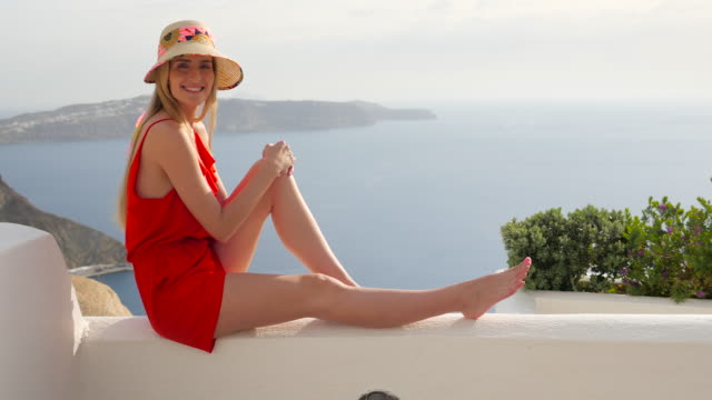 Woman relaxing in Santorini