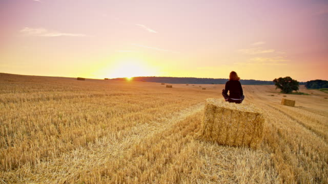 ds woman relaxing on a bale at sunset - hay bail stock videos & royalty-free footage