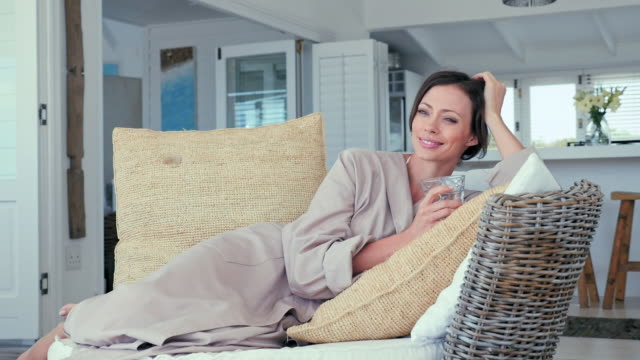 Woman relaxing on patio