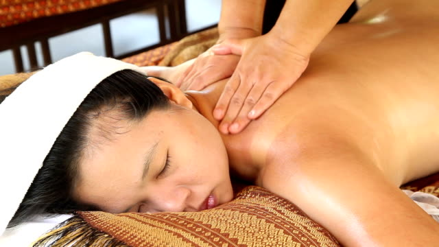 Woman Relaxing While Getting Oil Back Massage Stock Footage Video Getty Images