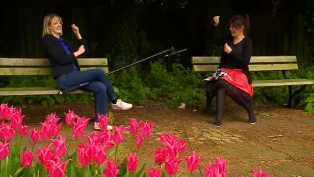 woman retrains as laughter yoga trainer; uk, hertfordshire; interview with laughter yoga practitioner. england: hertfordshire: ext lottie mikkelsen... - yoga stock videos & royalty-free footage