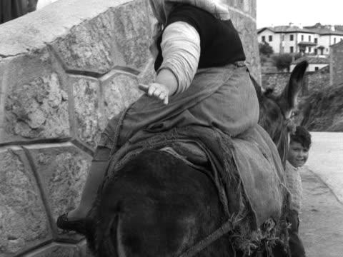a woman rides a donkey along a lane - esel stock-videos und b-roll-filmmaterial
