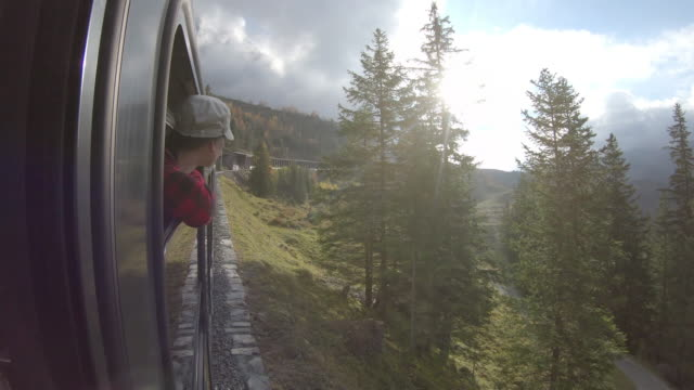 woman rides train along mountain track, looks off to view - accessibility stock videos & royalty-free footage