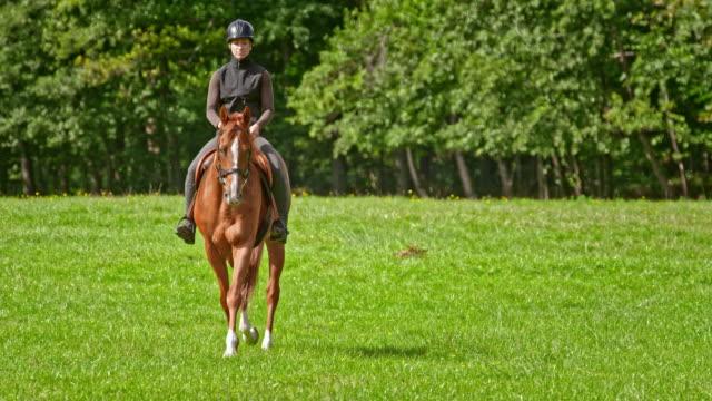 SLO MO Woman riding her brown horse across a meadow