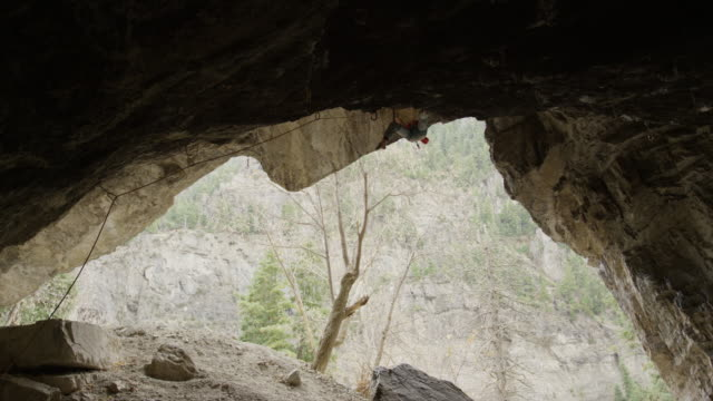 vidéos et rushes de woman rock climbing on ceiling of cave / american fork canyon, utah, united states - cheveux tressés