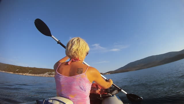 hd: woman rowing in the sea - water sport stock videos and b-roll footage