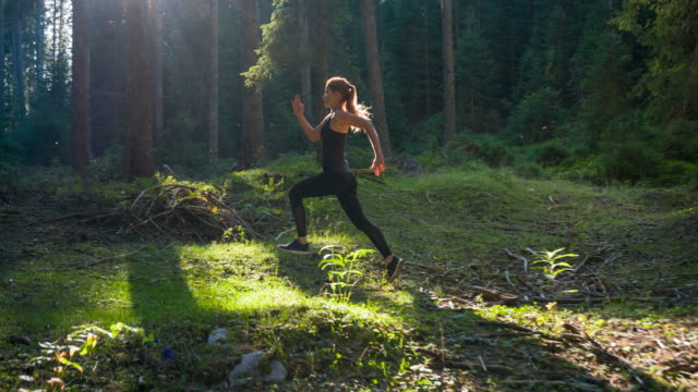 woman runner in forest - triathlon stock videos & royalty-free footage