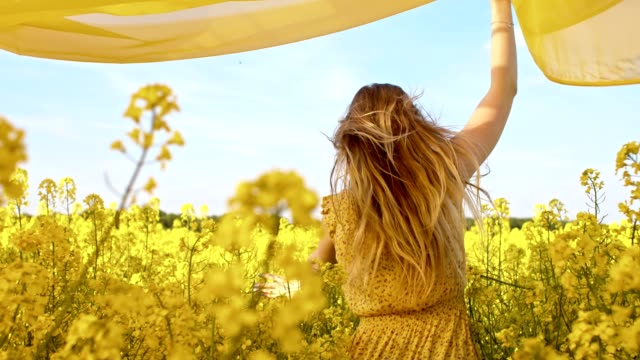 vídeos de stock e filmes b-roll de slo mo woman running with a shawl among canola flowers - textile