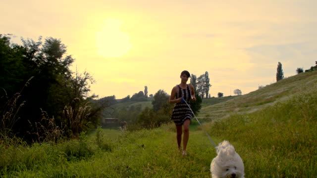 vídeos de stock e filmes b-roll de slo mo mulher com cão correr - trela de animal de estimação