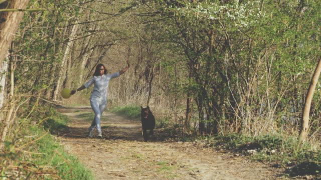 森で彼女の犬と一緒に走っている slo mo 女性 - スキップ点の映像素材/bロール