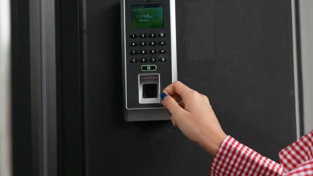 woman scan fingerprint at electric door , ring a bell - fingerprint stock videos & royalty-free footage