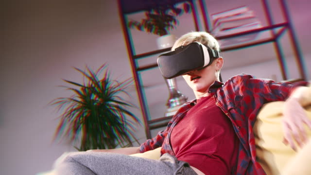 Woman scared by virtual world