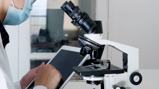 Woman scientist start working with microscope. Microbiologist looking microscope. Microbiology laboratory research.Woman scientist using tablet.