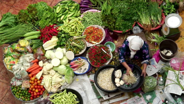 HA WS Woman scooping bean sprouts into pan and sitting among bowls of fresh vegetables at outdoor market / Kota Bharu, Malaysia
