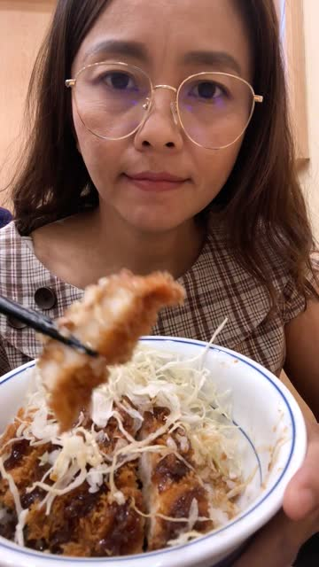 woman selfie for present , enjoy eating japanese food , curry set , tonkatsu , vertical video for smart phone - vertical stock videos & royalty-free footage