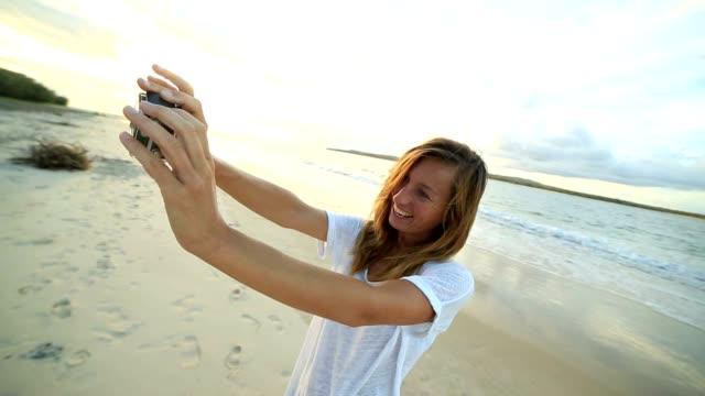 woman selfie on Australian beach