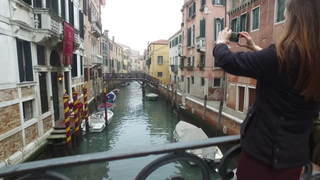 Woman selfy in Venice