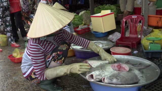 woman selling fish at street market - mellanstor grupp av objekt bildbanksvideor och videomaterial från bakom kulisserna