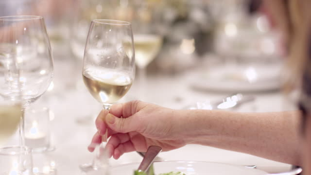 ms cu woman setting glass of wine down next to salad plate during dinner party - wine glass stock videos and b-roll footage
