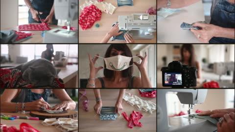vídeos y material grabado en eventos de stock de mujer cosiendo máscaras covid-19 en casa - montaje técnica de vídeo