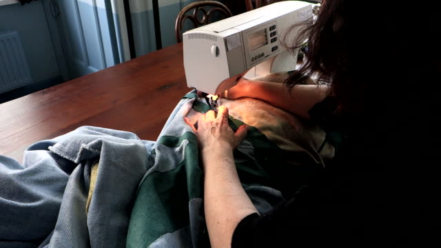 woman sewing with sewing machine - tapestry stock videos & royalty-free footage