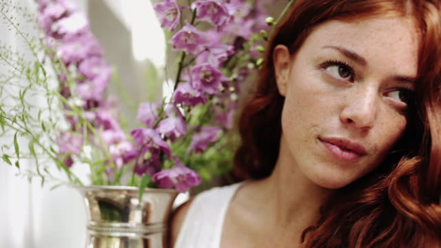 woman sharing leisure time at home - freckle stock videos & royalty-free footage