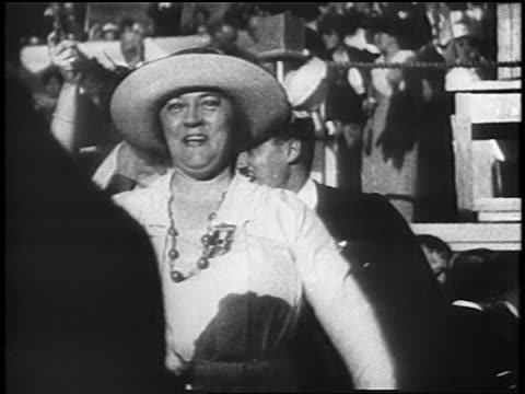 b/w 1920 woman shouting smiling at democratic national convention / san francisco - united states presidential election stock videos & royalty-free footage