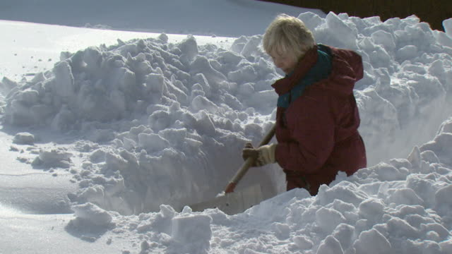 ms zo ha woman shoveling snow in front of log cabin, tweed, ontario, canada - 掘る点の映像素材/bロール