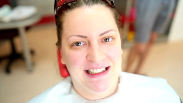 woman showing teeth before whitening - plaque bacteria stock videos & royalty-free footage