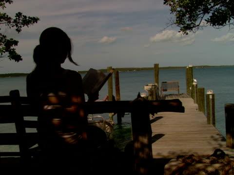 vídeos de stock, filmes e b-roll de ms,  woman sitting by wooden pier,  reading book,  rear view,  harbour island,  bahamas - só uma mulher de idade mediana