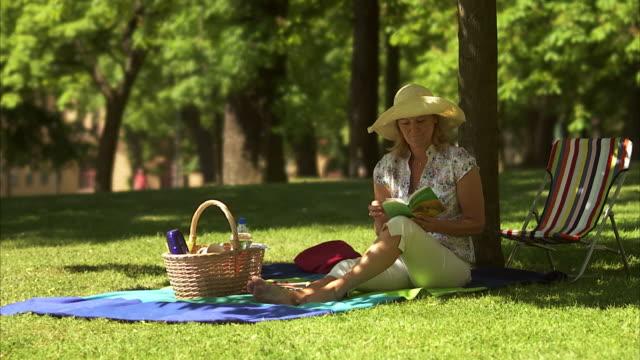 vídeos y material grabado en eventos de stock de woman sitting in a park reading a book after a while she takes a break stockholm sweden. - cesta de picnic