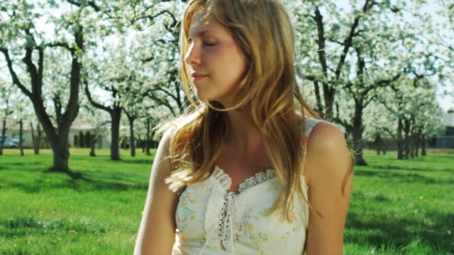 woman sitting in an orchard - one teenage girl only stock videos & royalty-free footage