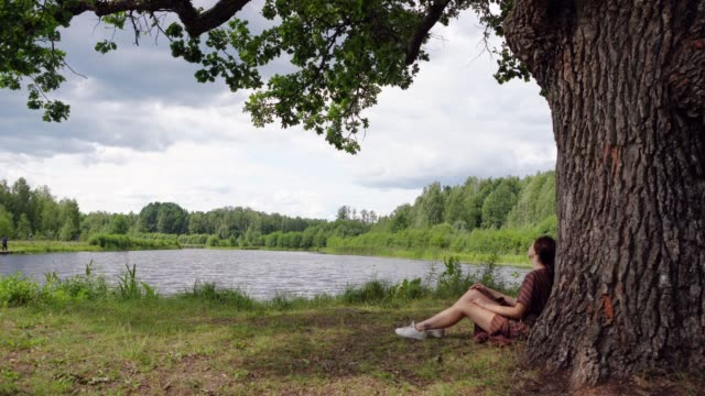 woman sitting near  the old oak by the lake - oak tree stock videos & royalty-free footage