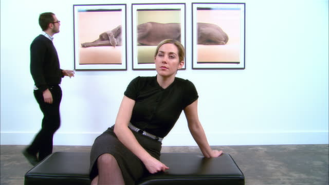 vídeos y material grabado en eventos de stock de woman sitting on bench at gallery opening and looking at artwork across room / man looking at three-panel print of a weimaraner by william wegman on wall behind woman / man bringing woman drink / man and woman walking away from bench - museo de arte