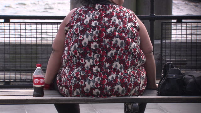 ms woman sitting on bench with bottle of soda / new york city, new york, usa  - overweight stock videos & royalty-free footage